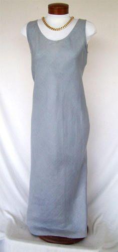 MONIKA TURTLE Sz M Bias-Cut 100% Linen Dress GRAY Flared Full Length ARTSY FAB!