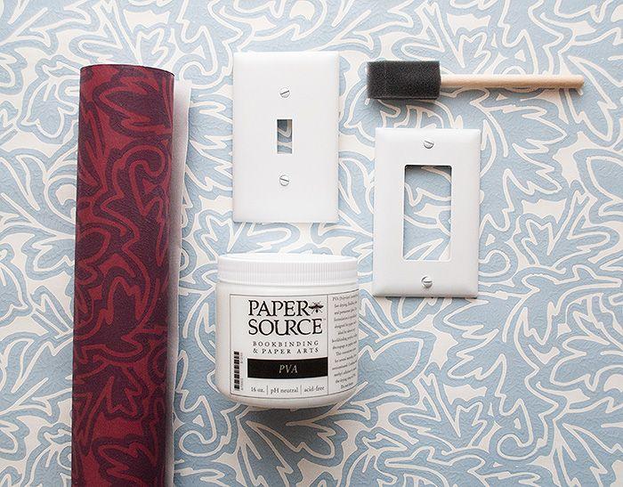 Diy Wallpapered Switch Plates Design Sponge Diy Wallpaper Diy Furniture Projects Diy