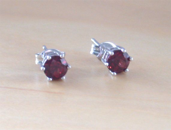 925 Garnet Stud Earrings Sterling Silver