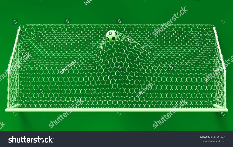 Soccer Ball In The Gold Goal Net Under Green Light 3d Illustration 3d Cg High Resolution Ad Spon Goal Net Gold Soccer Goal Net Soccer Ball Soccer