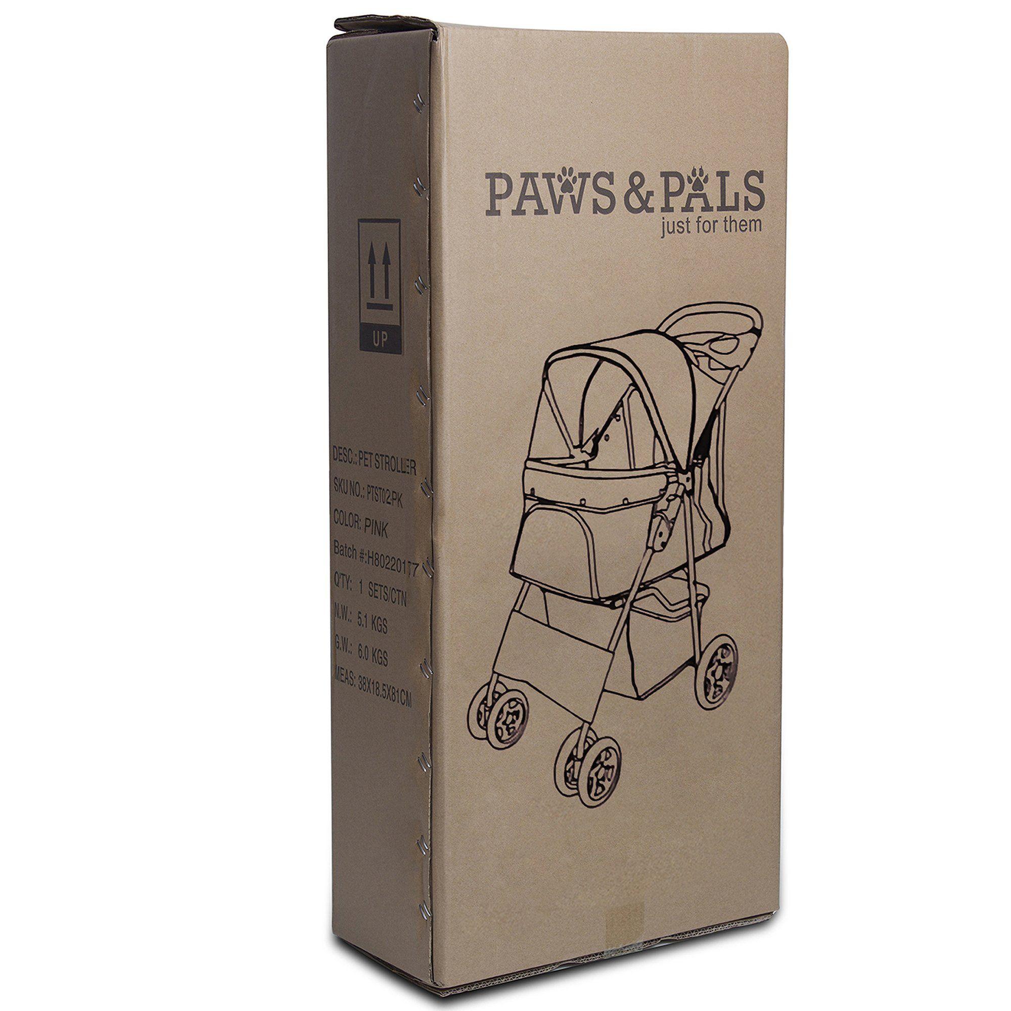 Paws pals ez walk 4 wheel purple pet stroller pet
