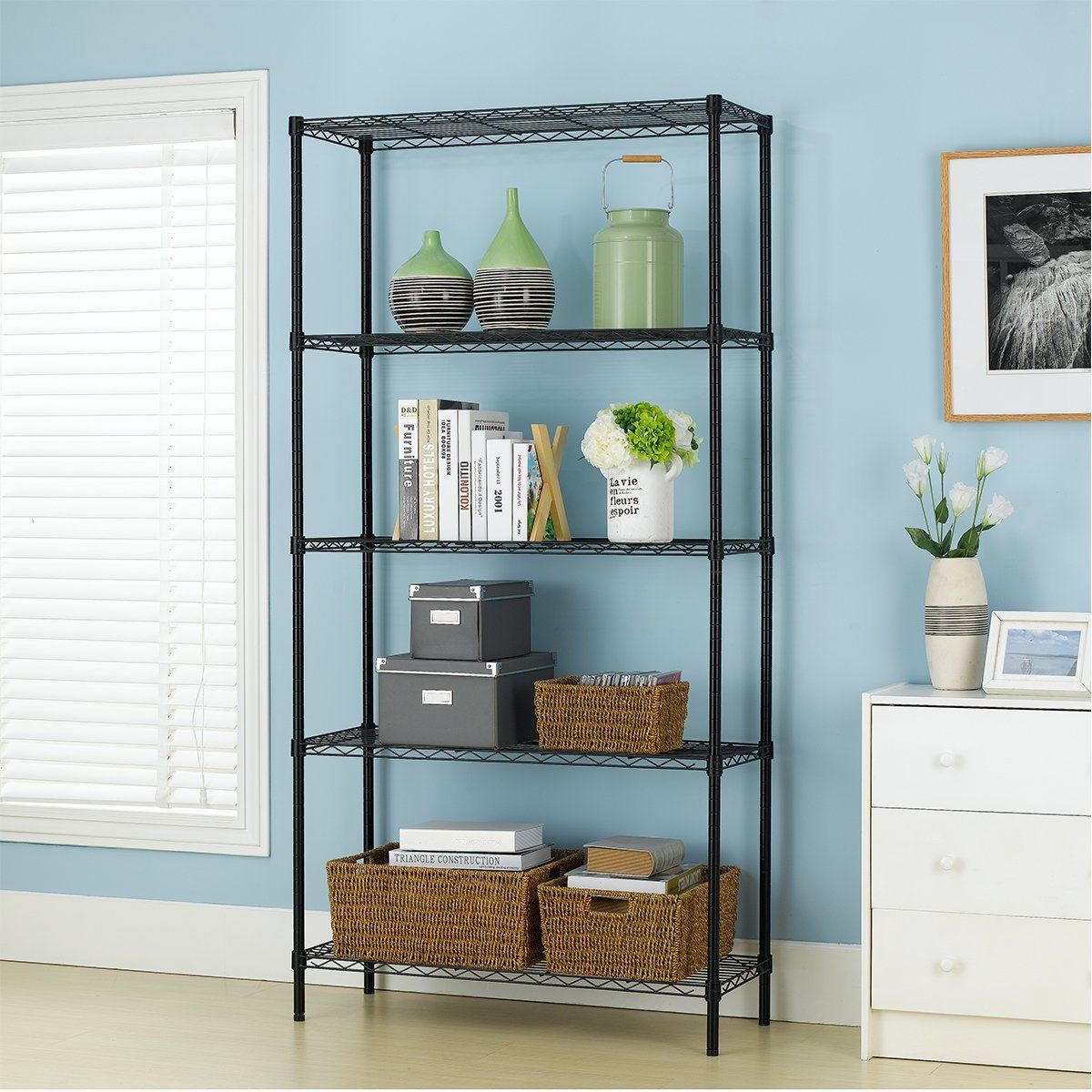 Amazon.com: PayLessHere Black 5 Shelf Adjustable Steel Shelving ...