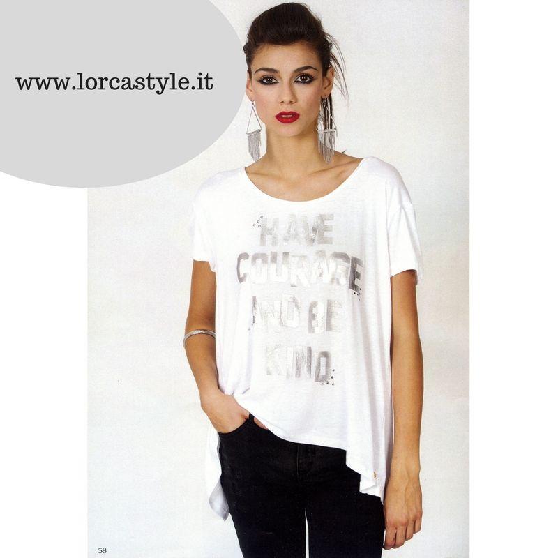 8156794a2c06 T-shirt bianca con la stampa VERNICE - LORCASTYLE