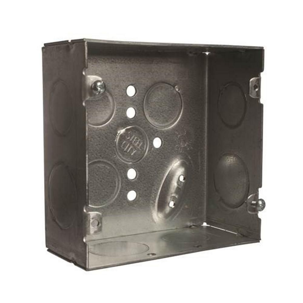 Steel City 2 Gang 4 In 42 Cu In 2 1 8 In Deep New Work Metal Square Electrical Box Case Of 20 Steel Galvanized Metal Metal