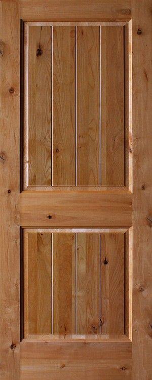 Knotty Alder 2 Panel Plank Square Top Rail 1 3 8 Thick Interior Door Room Door Design Doors Interior Plank Door