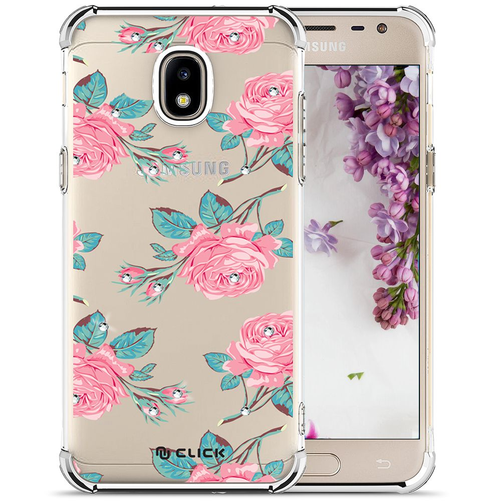 Samsung Galaxy J7 Crown Elegant Case Click Slim Clear Flower