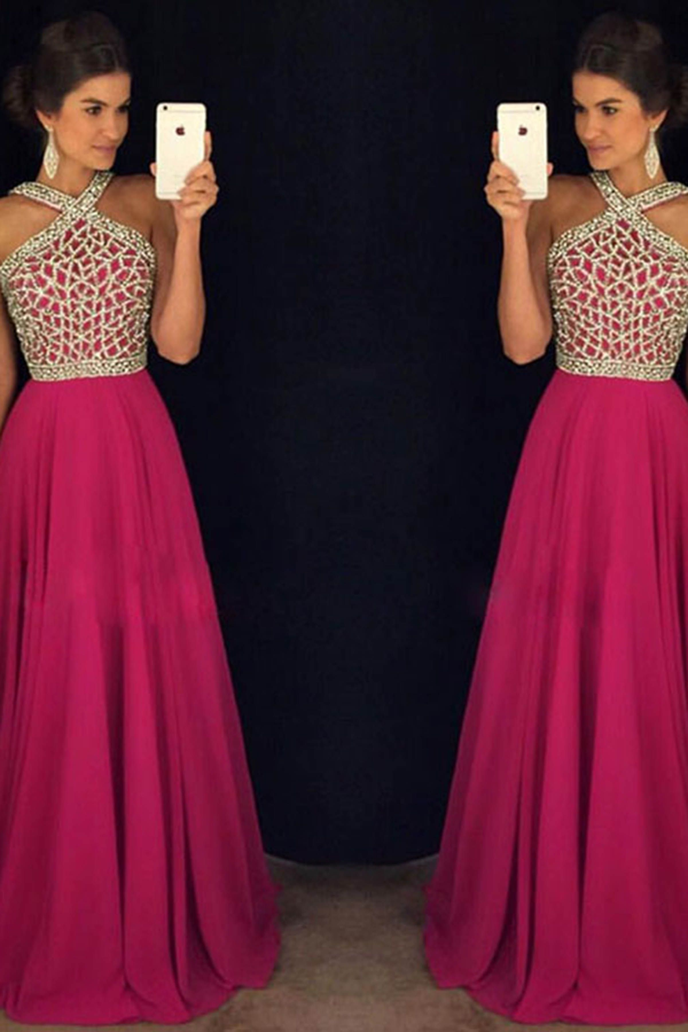 Rosy chiffon sequins beading halter long prom dress wanted pinterest