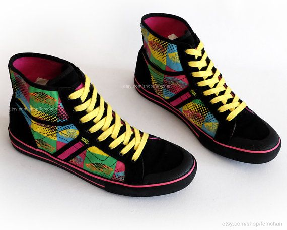 095ea021f0 #90s #Vans high tops, #vintage #skate #shoes, #printed #festival #sneakers,  bright off the wall logo print, eu 40 (UK 6.5, US wo's 9, ...