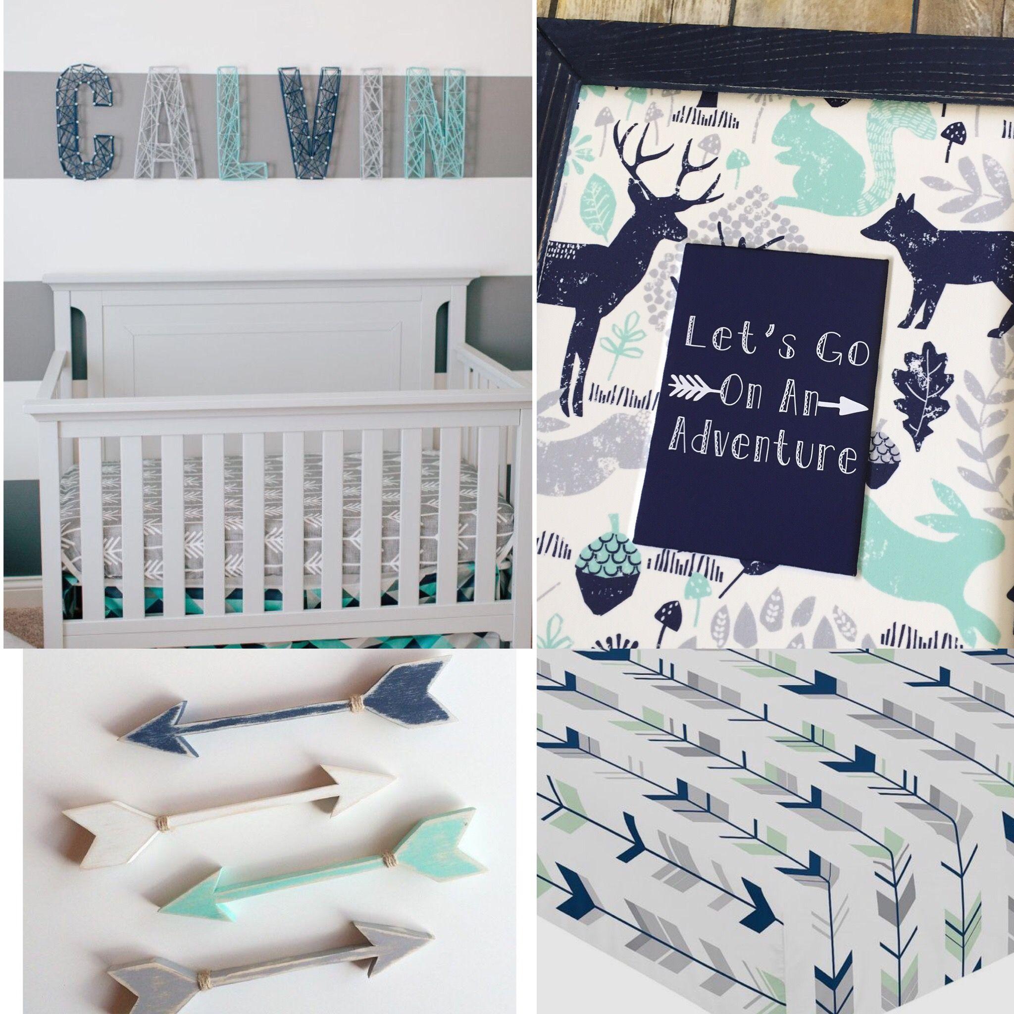 Boy Woodland Nursery Decor Sweet Jojo Designs Woodsy Deer Bedding Navy Blue Mint Gray Toddler Bedroom Playroom