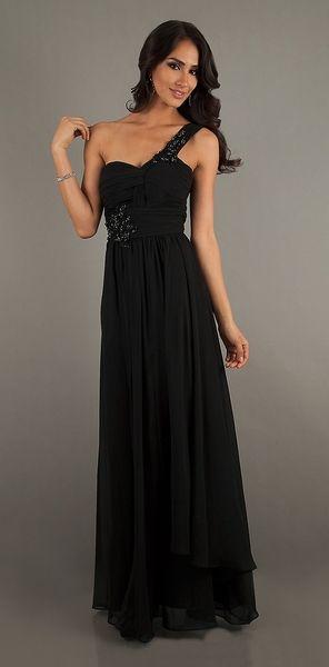 Flowy Black Grecian Prom Dress Long One Strap Embellished Beading