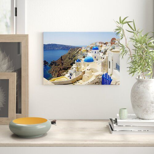 Leinwandbild High Angle View of a Church, Oia, Santorini, Cyclades Island East Urban Home Größe: 45,7 cm H x 66 cm B x 1,9 cm T #churchitems