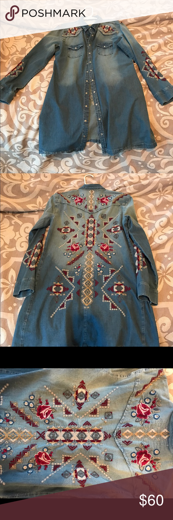Johnny Was Denim Embroidery Dress Johnny Was Demin Dress with a beautiful embroidered design!! Worn twice... no flaws (other than needs a good ironing at the hem!) If you have any questions, please don't hesitate to ask! Johnny Was Dresses Long Sleeve