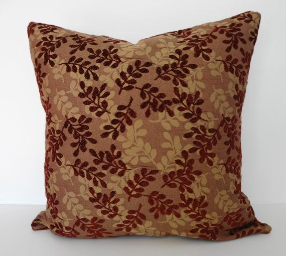 Maroon Chocolate Pillow | Decorative Leaves Pillow Cover, Richloom Fabrics,  Burgundy And Brown .