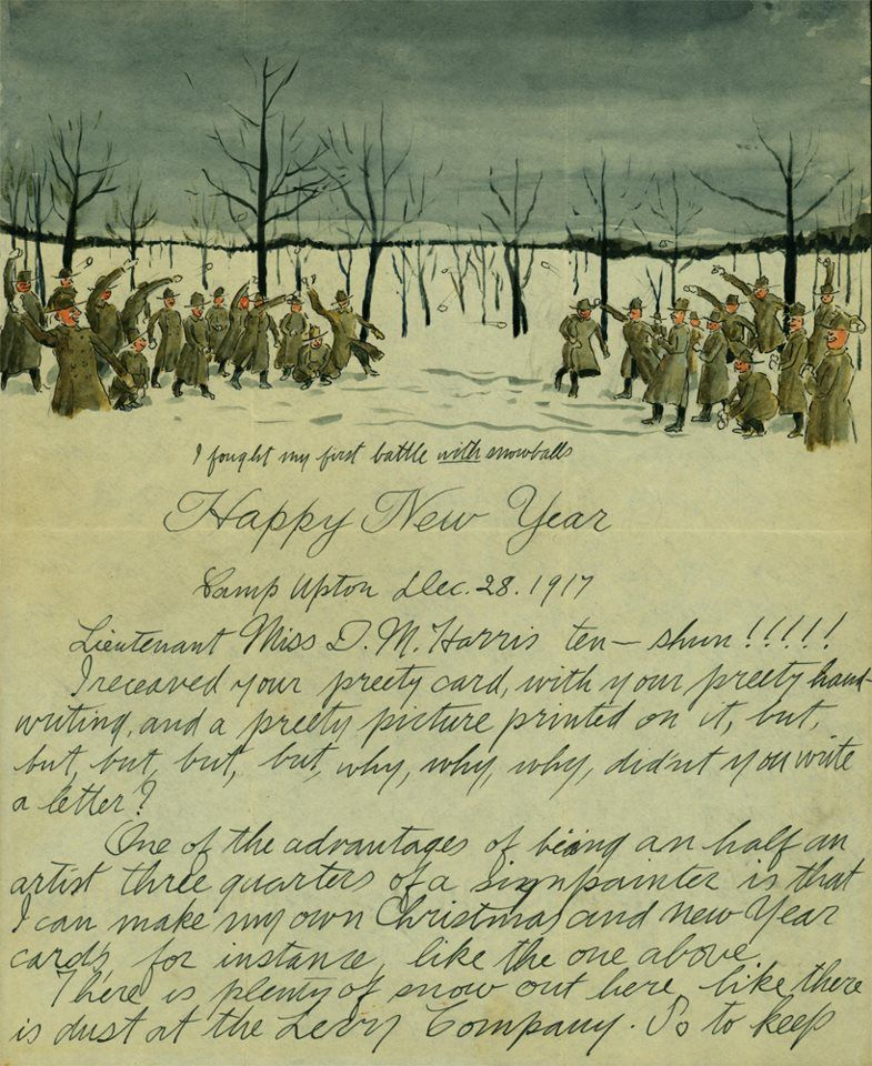 """Soldier Salvatore Cillis illustrates his letters home. """"In this New Year's letter from Camp Upton, in Long Island, Cillis describes the epic snowball fight that inspired his watercolored letterhead."""" http://www.slate.com/blogs/the_vault/2012/12/27/salvatore_cillis_a_soldier_illustrated_a_new_year_s_letter_home.html"""