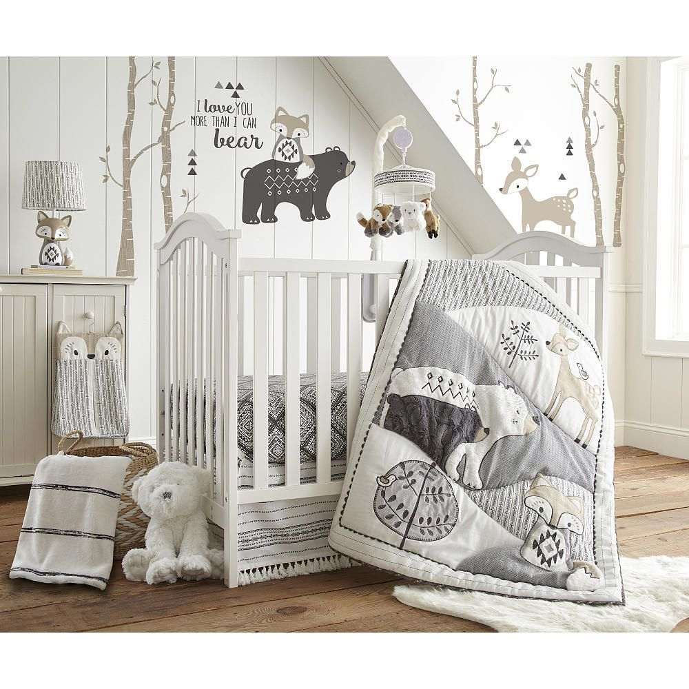 Levtex Baby Bailey Charcoal & White Woodland Themed 5 Piece Crib ...