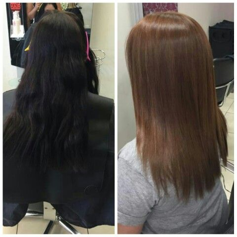My Hair Before After Dark Brown More Like Black To A Warm