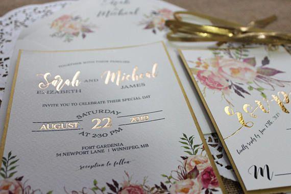 Gold Foil Floral Wedding Invitation Suite Rose Gold Blush Pink green