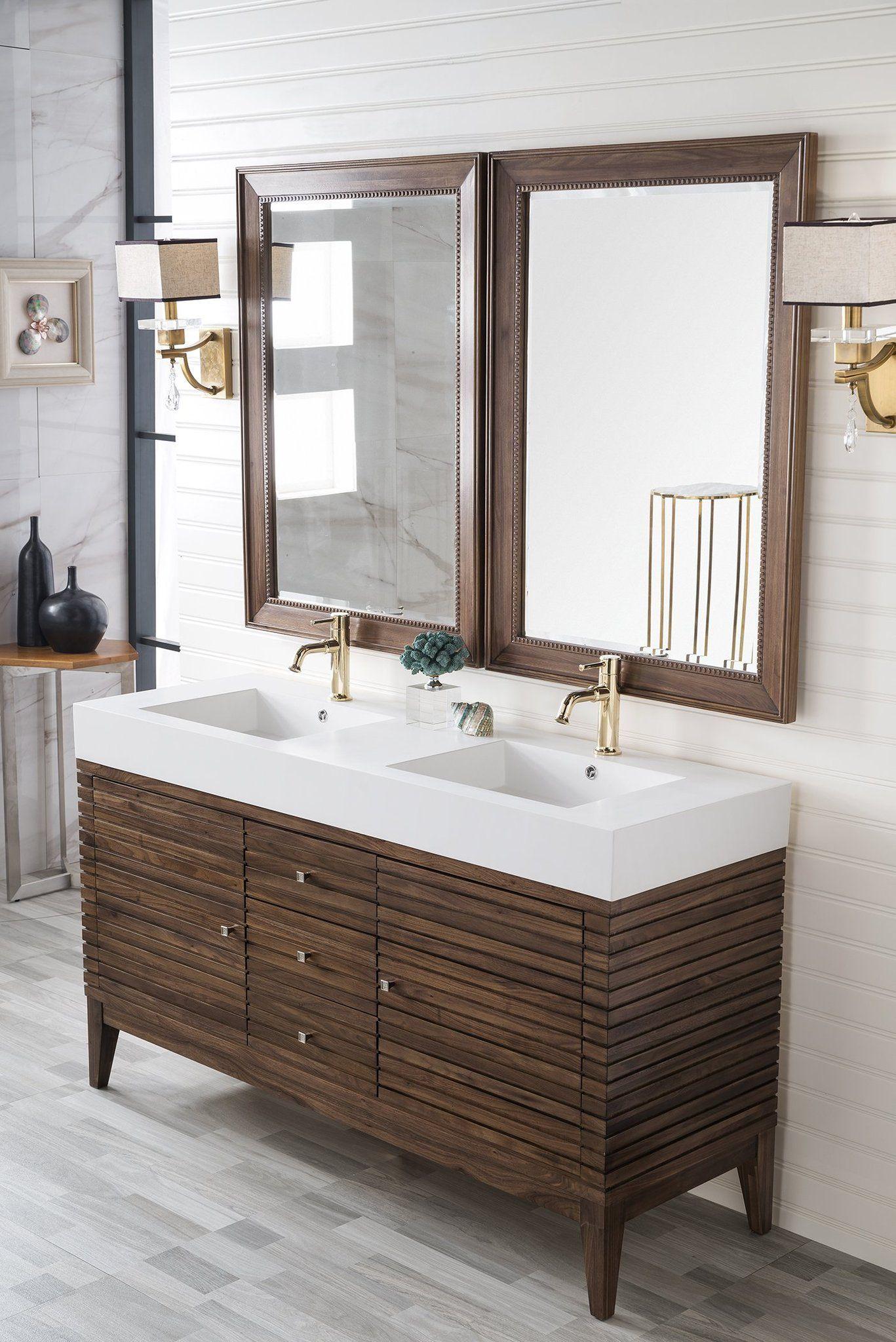 Linear 59 Double Bathroom Vanity Mid Century Walnut In 2020