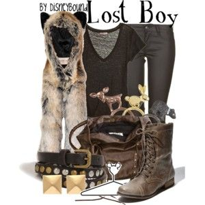 Lost boy from Peter Pan inspired outfit. I want that animal hood.