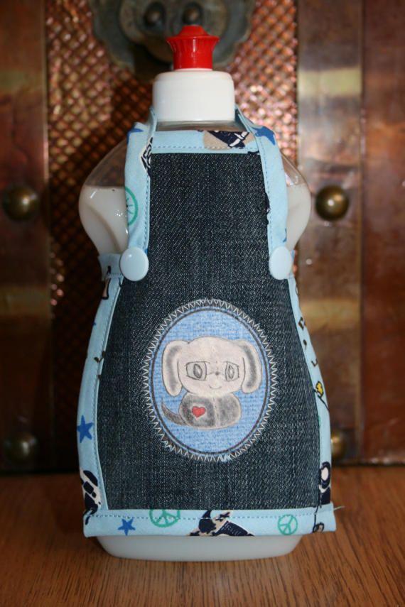 Spüli Schürze Dekoration für Spülmittelflaschen Jeans