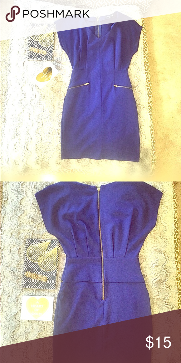 Blue dress with gold front zippers