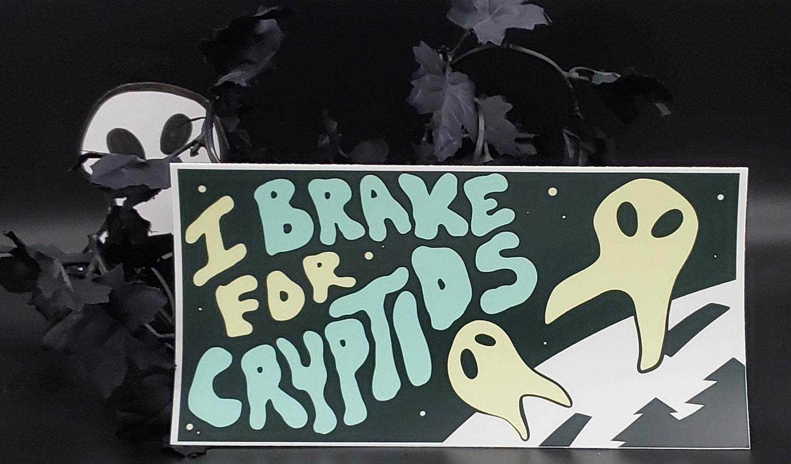 I Brake For Cryptids Vinyl Bumper Sticker Etsy Vinyl Bumper Stickers Bumper Stickers Vinyl [ 932 x 1588 Pixel ]