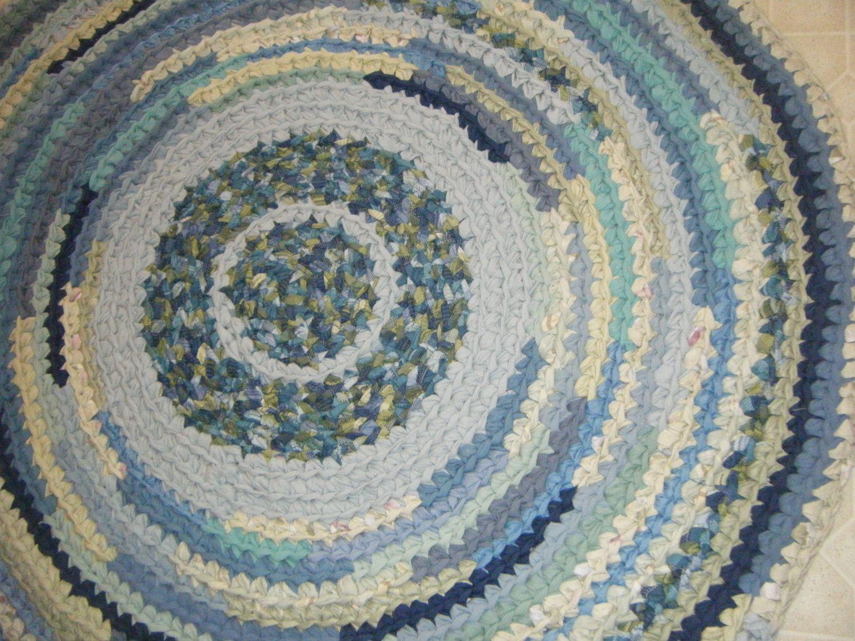 Blue and green farmhouse rag rug modern rug crochet