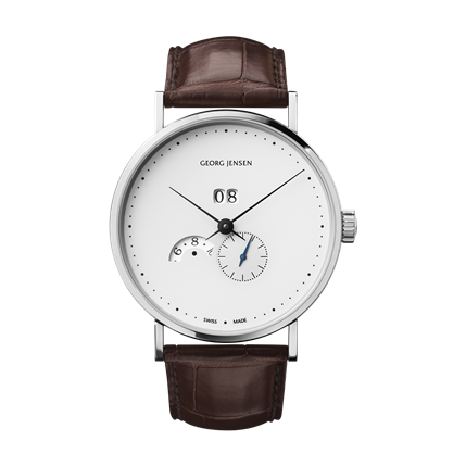 KOPPEL - 41 mm, Automatic mechanical with grande date annual calendar, white dial, brown alligator strap