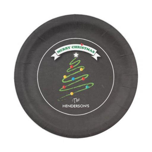 Chalkboard Christmas Tree Custom Plates Modern Zazzleuk Christmas Paper Plates Merry Paper Plates Party Christmas Chalkboard Christmas Paper