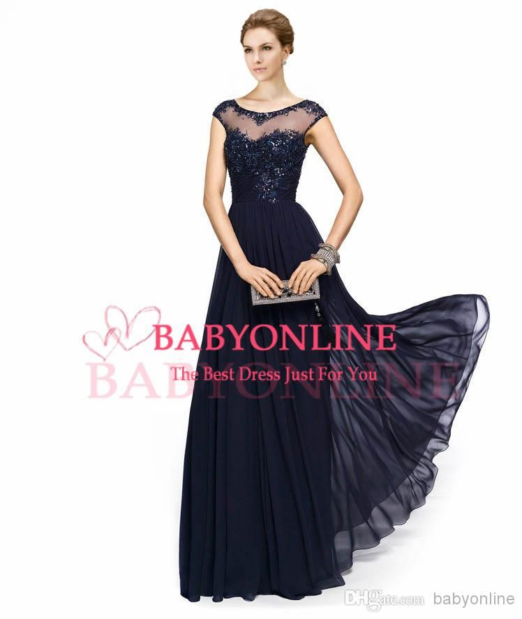 572464a113e 2014 Vintage Chiffon Navy Blue Lace Crew Illusion Neck Evening Gowns  Appliques Beads Cap Sleeves Plus Size Mother of the Bride Dresses EB216