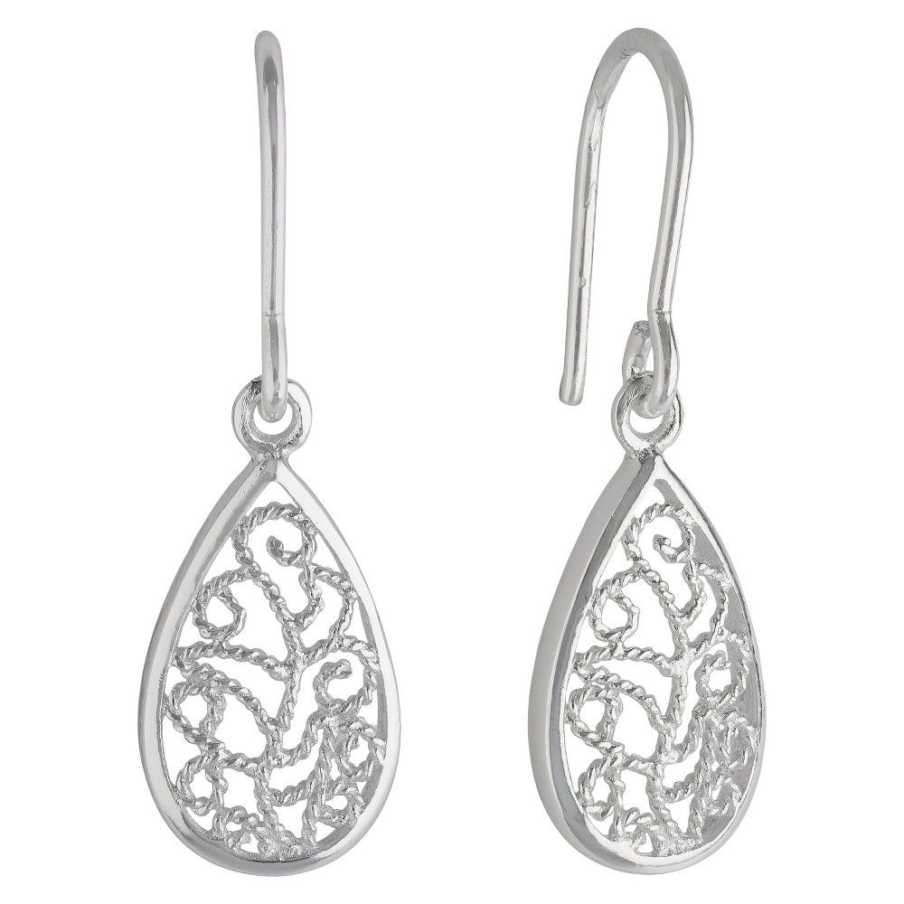 Women's Sterling Silver Drop Earring with Small Teardrop Filigree - Silver
