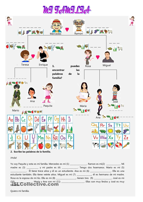 La familia hoja de trabajo l a f a m i l i a for Nombres de arboles en ingles