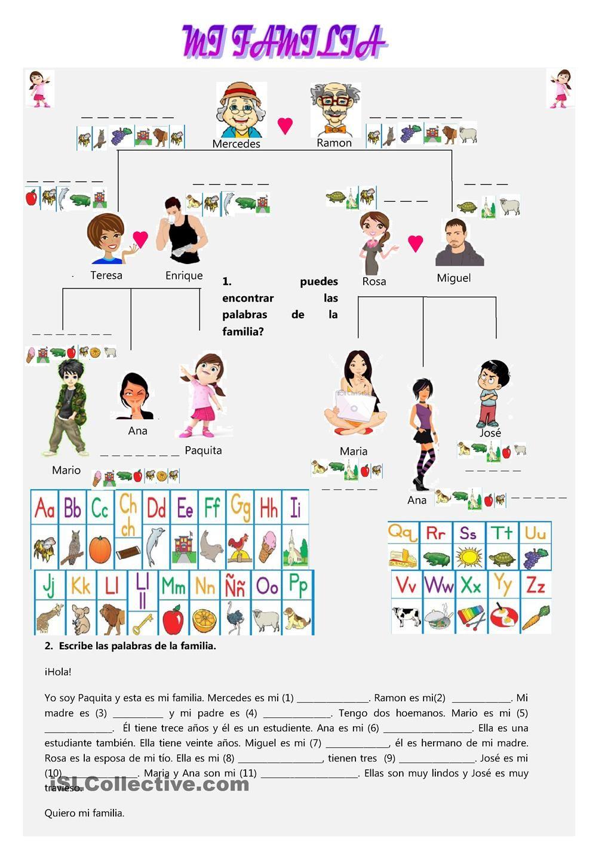 worksheet La Familia Worksheets free printable spanish worksheet family vocabulary la familia los hoja de trabajo