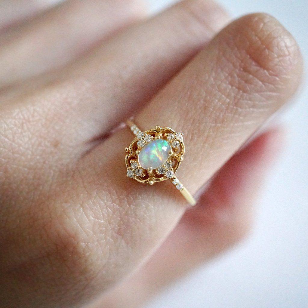 Cosmic Opal Ring Vintage engagement rings, Opal rings