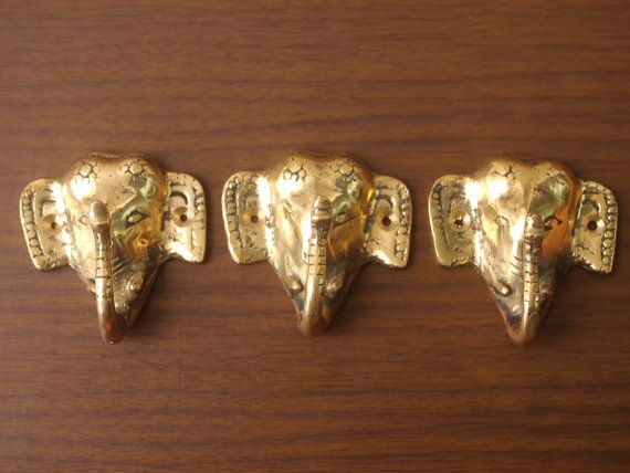 Vintage Gold Tone Cast Metal Elephant Wall Hook, Antique Thai Elephant Clothes Rack Hooks, Set of Three on Etsy, $25.00