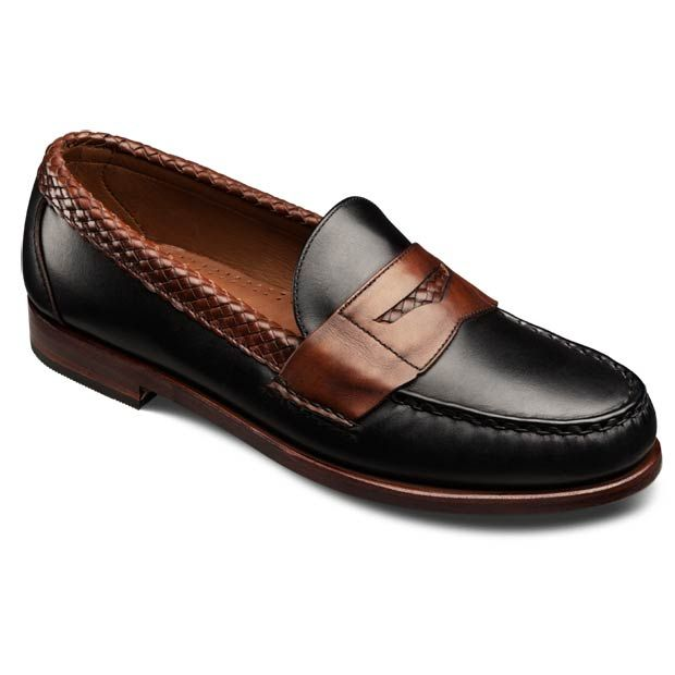 Allen Edmonds Rye NY Dress Loafers 40661 Black Leather with Mahogany Weave  - ONLINE EXCLUSIVE
