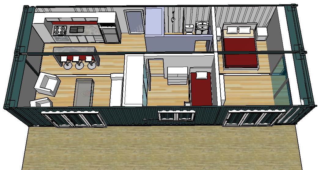 3d Rendering Of 1 2 Bedroom Shipping Container Home Showing Kitchen Living Bedrooms And Container House Container House Plans Shipping Container House Plans