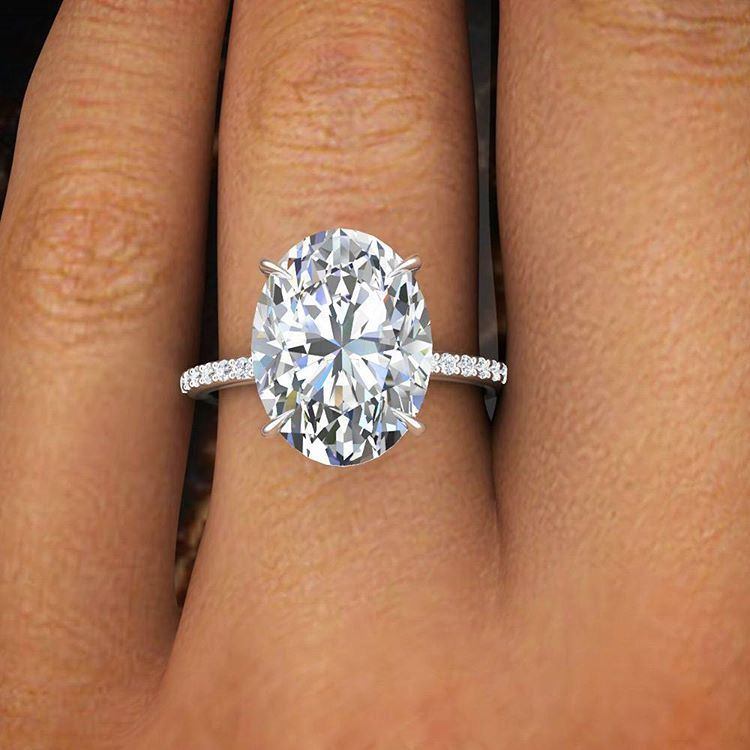 2 50 Ct Natural Oval Cut Pave Diamond Engagement Ring GIA Certified in Jewelr