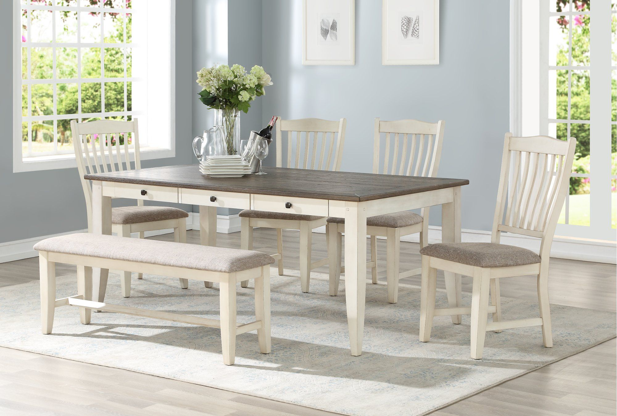 White and Gray 9 Piece Dining Set   Grace   RC Willey Furniture ...