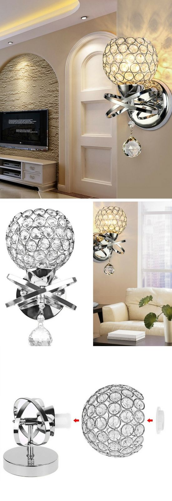 ONEVER Modern Style Decorative Crystal Wall Lights Bedside Wall Lamp ...