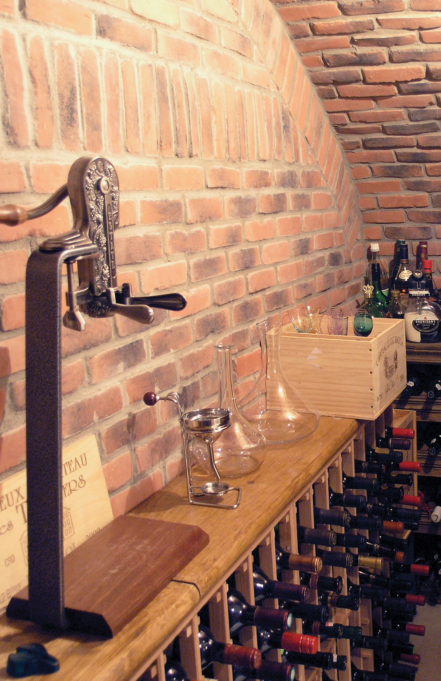 Brick wine cellar interior decoration pinterest wine for Cost to build wine cellar