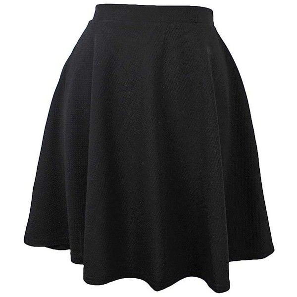 Black Flared Ponte Knit Skater Skirt ($25) ❤ liked on Polyvore featuring skirts, black, knee length skater skirt, ponte a line skirt, textured skirt, circle skirt and ponte skater skirt