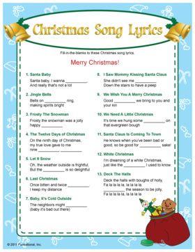 christmas song lyrics games printable free