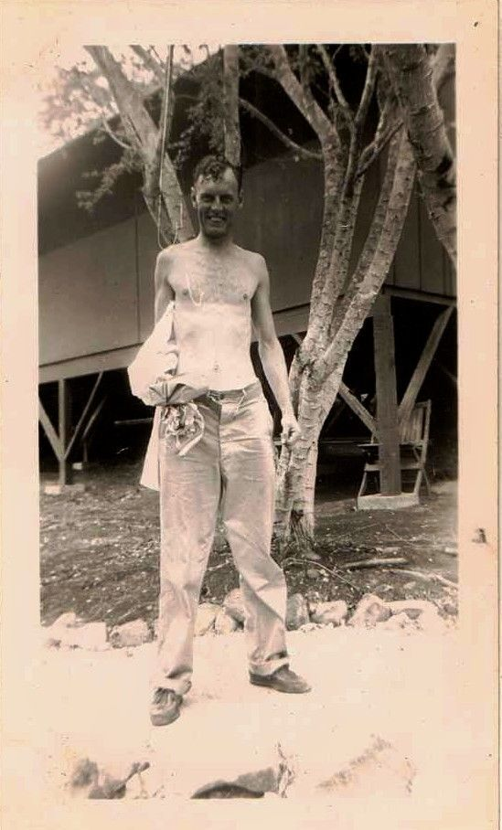 Vintage Antique Photograph Shirtless Man Showing Off His Super Skinny Body