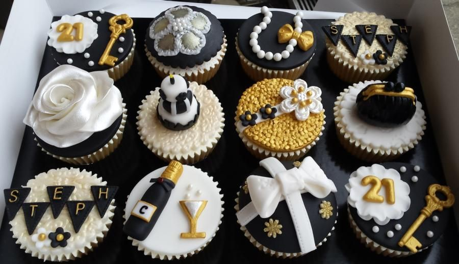Black White Gold Themed 21st Birthday Cupcakes Cake By