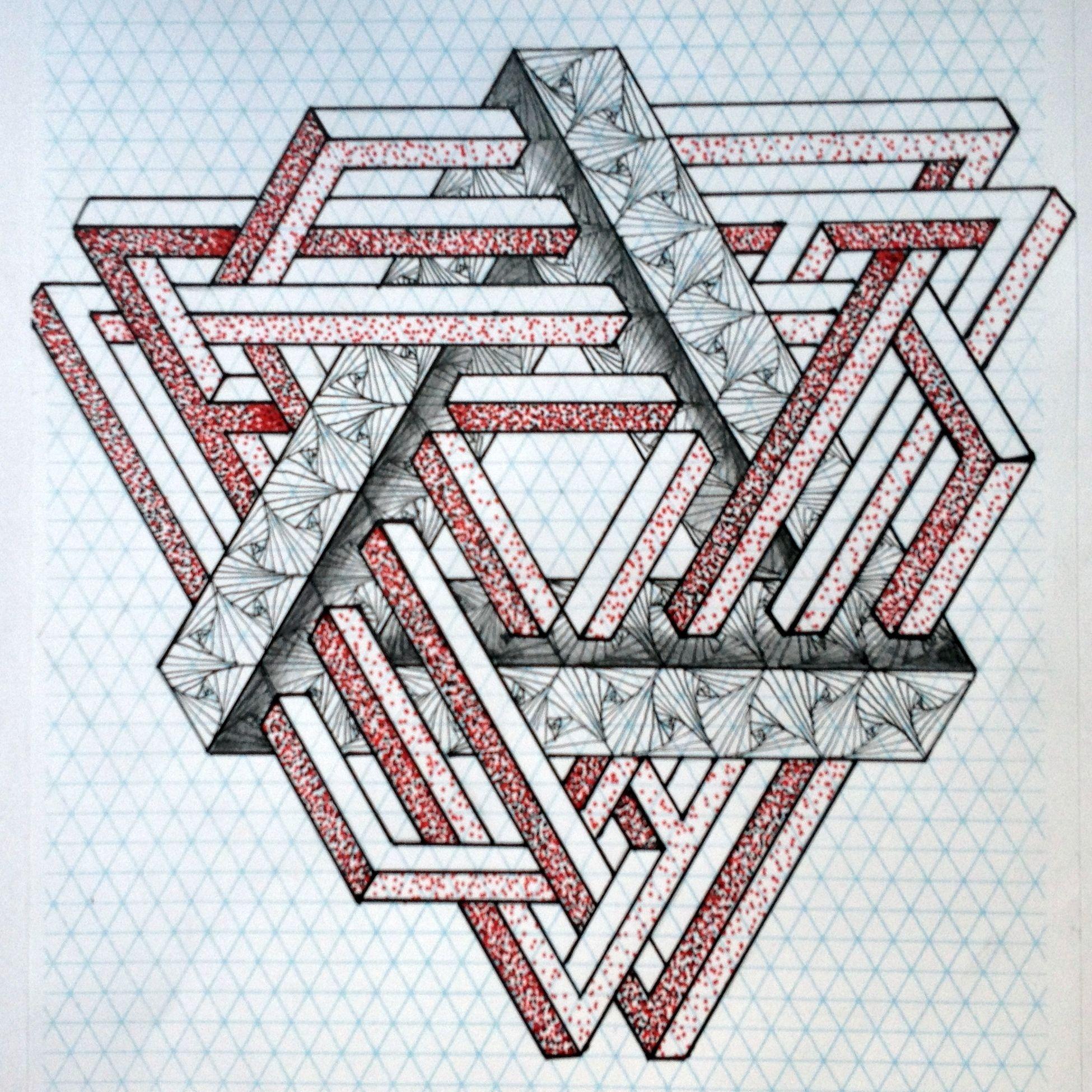 Impossible Opticalillusion Penrose Penrosetriangle Escher Mc Escher Oscar Reutersvard Triangle Iso Graph Paper Drawings Graph Paper Art Geometric Art