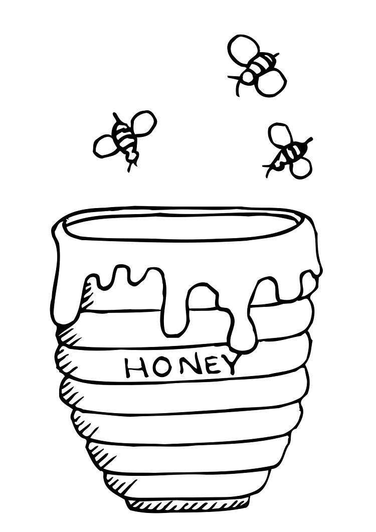 Winnie The Pooh Honey Pot Coloring Pages Coloringareas Com Bee