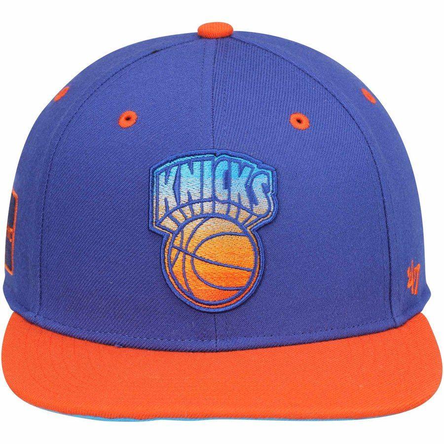 best loved ba2b1 3cb29 Mens New York Knicks  47 Brand Royal Blue Hardwood Classics Rocco Neon  Adjustable Snapback Hat