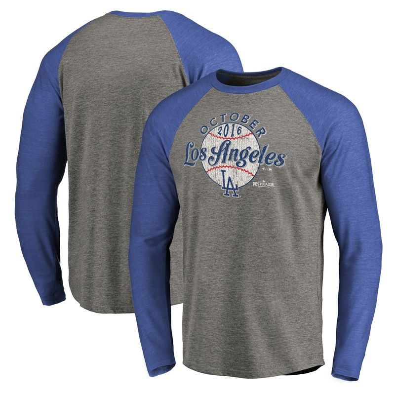 e4a0784d Los Angeles Dodgers 2016 Postseason Clutch Long Sleeve Raglan T-Shirt -  Royal