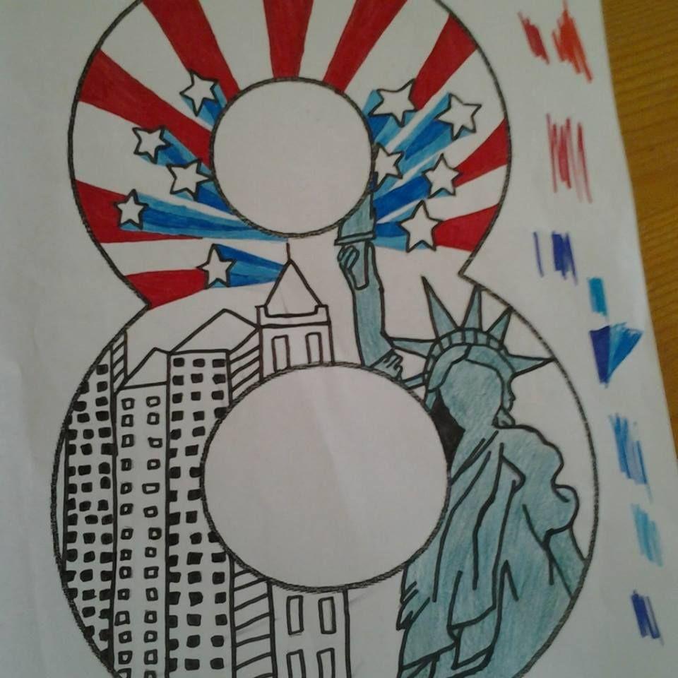 Groep Acht Teken Werkje New York Print Statue Of Liberty American Flag Towers Eenvoudige Tekeningen Doodles Thema
